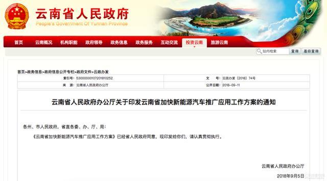 云南发布新能源补贴政策 省/市共补贴50%