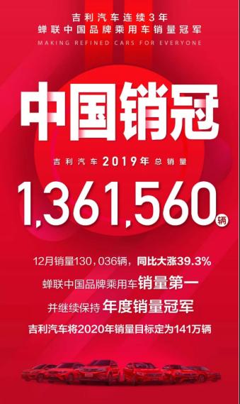 连续三年中国销冠,吉利全年销量超136万辆,嘉际32961辆