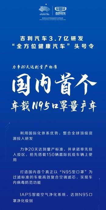 """吉利捐赠武汉等地的150辆嘉际,将装备国内首款车载""""N95口罩""""-车神网"""