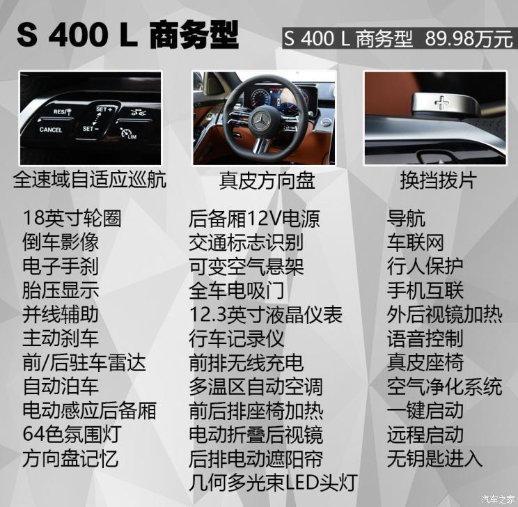 奔驰(进口) 奔驰S级 2021款 S 400 L 商务型